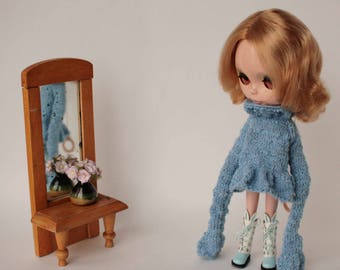 Blythe dress, Blue dress for Blythe doll, Knitted dress with super long sleeve, Blue doll outfit, Blythe blue clothes, Hand knitted sweater