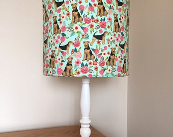 Airedale Terrier dog print fabric lamp