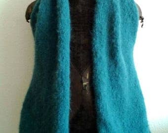 Asymmetrical Cardigan knitted in Alpaca and Merino Wool