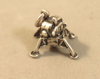 LUNAR MODULE .925 Sterling Silver 3-D Charm Pendant Vehicle Space Landing Craft Nasa Mission Travel New vh47