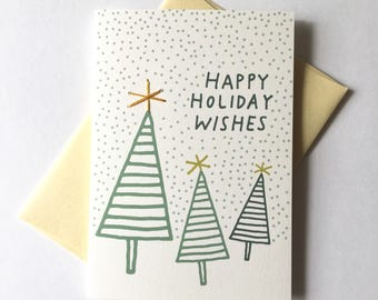 Happy Holiday Wishes. Hand Stitched Greeting Card. Holiday Card / Christmas Card / Happy Whatever Card.