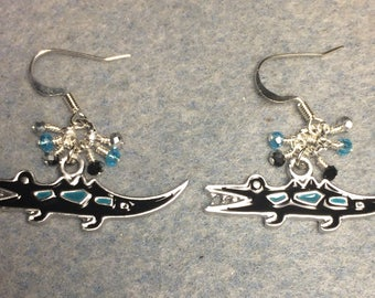 Black, turquoise and silver enamel alligator charm earrings adorned with tiny dangling black, turquoise, and silver Chinese crystal beads.