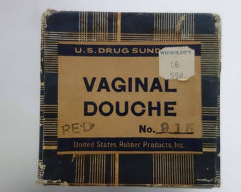 50s new in box vaginal douche apparatus with vintage douche powder, massengill brand