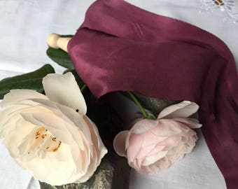 GRAPE hand dyed silk habotai ribbon / plant dyed / eco dyed / wedding ribbon / styling ribbon / photo prop / pure silk ribbon