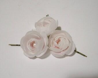 Silk Ranunculus flowers barrettes