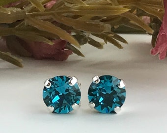 Swarovski Earrings, Indicolite Crystal Earrings, Blue Green Crystal Earrings, Silver Studs, Simple Crystal Earrings, 8mm Earrings