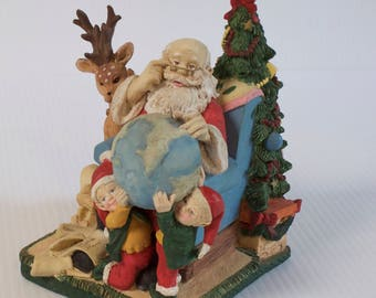 Vintage Santa Claus with Globe, Reindeer, Elves, Christmas Figurine - Classic Collectables