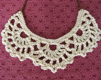 Crochet bib necklace, cream necklace, statement jewelry, vintage lace jewelry, bridesmaid gift, wedding jewelry, crochet necklace