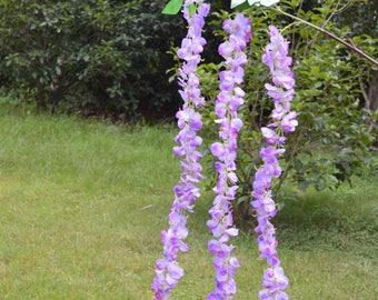 "3Head/Branch Wisteria Flower 70"" Purple Silk Wisteria Hanging Flowers Garland with leaves, Wisteria Vine Wedding Backdrop"