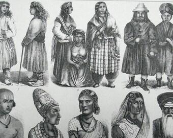 1880 - INDIA CEYLON SHIP Boat - Original Antique Steel Engraving. Ethnology. History. Social Science