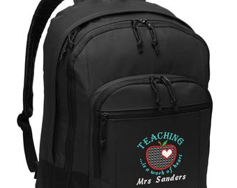 Teaching is a Work of Heart Personalized Embroidered Backpack
