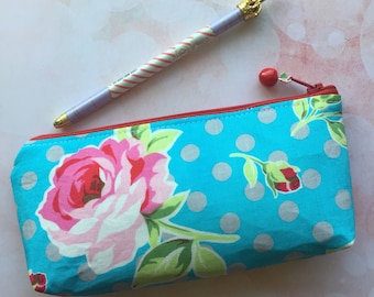 Fabric Pencil Pouch in Aqua and Roses