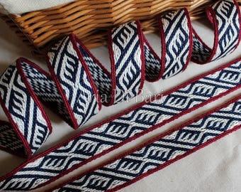 Tablet woven trim, finnish pattern, tablet weaving, viking medieval, reenactment, sca, larp, 100% cotton