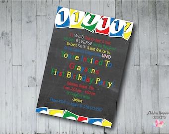 Uno First Birthday Invitation, Uno Birthday, Uno Party, Uno Invitation, Digital File, Printable File