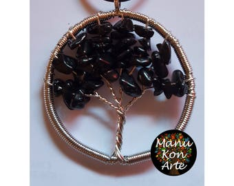 Life Tree Obsidian Wire Wrap pendant/Obsidian Necklace tree Life
