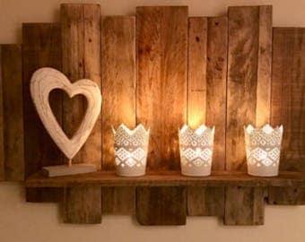 Reclaimed wood floating shelf rustic style