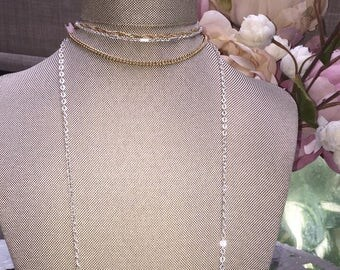 Silver and Gold Chain Choker Necklace