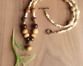 Boho Necklace, Stone Necklace, Beaded Necklace