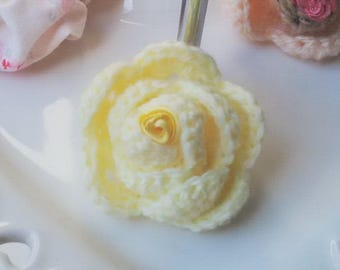 Handmade Crochet 'Lemon Curd' Rose brooch