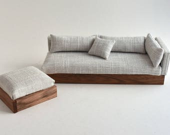 Sofa Couch Chaise Modern Miniatures 1:12 Scale Dolls House White & Grey Textured Woven Lounge Suite Ottoman Scandanavian Design DollHouse