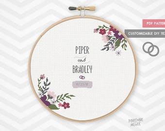 ROYAL FLORAL WEDDING record counted cross stitch pattern, modern shower bride gift pdf