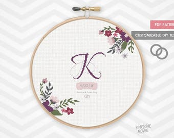 MONOGRAM FLORAL WEDDING record counted cross stitch pattern, modern shower gift diy pdf