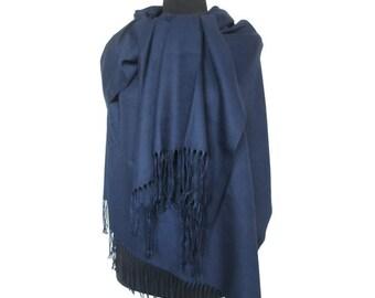 Blue Pashmina, Fashion Shawl, Christmas Gifts for Women, Pashmina Scarf, Blue Long Pashmina, Gift for Girlfriend, Plain Pashmina, Fall Scarf