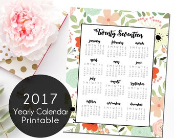 Floral 2017 Yearly Calendar, Printable Calendar, Instant Download 2017 Calendar