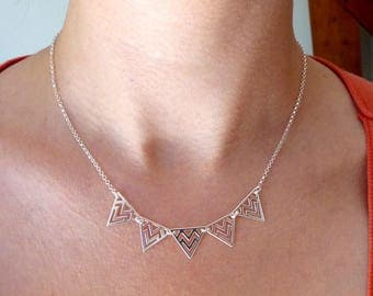"""5 triangles"" necklace 925 sterling silver"