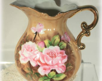 Porcelain Pink Rose Pitcher, Peach Luster Kelvin China, Juice Pitcher