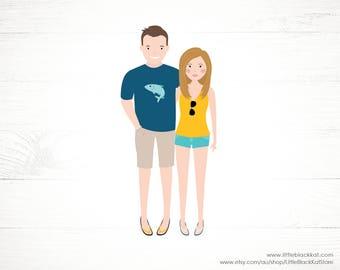 Custom Couple Portrait illustration | Engagement Announcement | 2 person Illustration | Personalised Digital Illustration