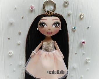 Handbag Charms Accessory Keychains Bag charms Cristals dress Keyrings Birthday Gifts Christmas Gifts for daughter Ragdolls Fabric dolls Ooak