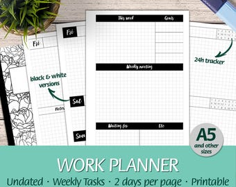 A5 - Work Planner Grid Paper 24h Tracker, Tasks - Half Letter, Happy Planner, Letter, A4 - Printable Planner Undated Insert, Booklet, PDF