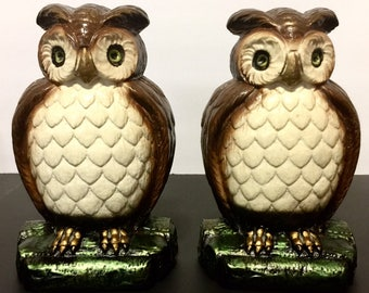 Vintage Wise Old Owls Bookends Heavy Cast Composite to Hold Books Perfectly In Place