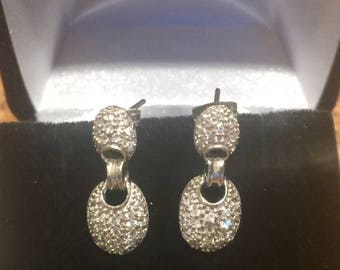 Sterling Silver and CZ Pave Diamond Drop Earring