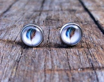 Bohemian style Feather glass cabochon earrings!  Handmade with Surgical steel backs.