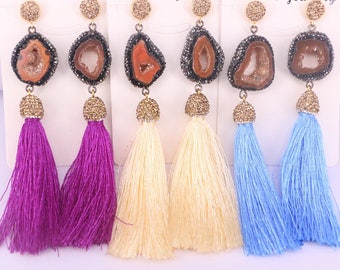 4Pairs Pave Rhinestone Bohemian Long Tassel Charm Fashion Earrings for Women