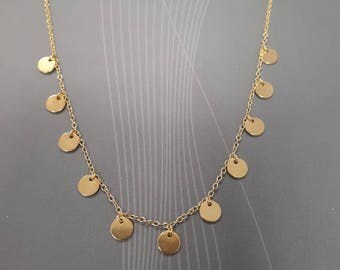 hanging discs boho necklace, gold vermeil, 925 sterling silver