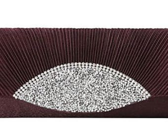 New Wine Satin Accordian Pleat With  Rhinestone Encrusted Closure Evening Clutch Bag