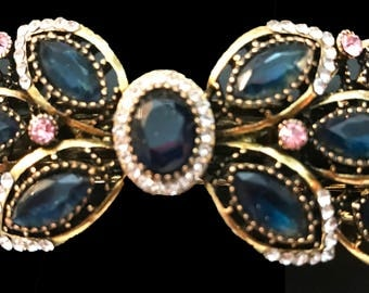 New Sapphire Blue and Rhinestone  Antique Gold Metal 3 1/2'' Hair Barrette With Lever Back