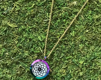 Multi-Colored Lotus Flower Stainless Steel Necklace, Diffuser Necklace, Aromatherapy Necklace, Necklace, Lotus Necklace, Flower,