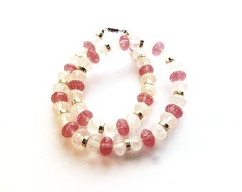 Vintage Carved Pink and Clear Acrylic Beads Choker Necklace