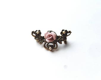 Vintage Gold Victorian Style with Porcelain Flower, Faux Pearls Pin Brooch