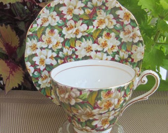 Royal Standard by Chapmans PEACH TREE Chintz Bone China Tea Cup and Saucer