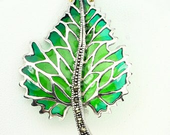 Edwardian Downton Abbey era 925 Sterling Silver Marcasite Enamel Art Nouveau style Foliate Autumn Leaf Brooch & Pendant - Truly Venusian