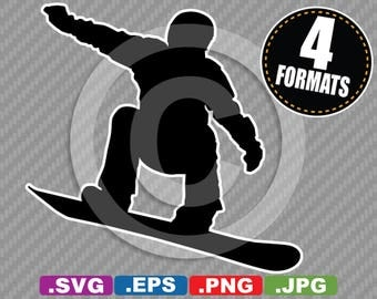 Snowboarder / Snowboarding Clip Art Image - SVG cutting file Plus eps (vector), jpg, & png - INSTANT DOWNLOAD - Die Cut Sticker/Decal