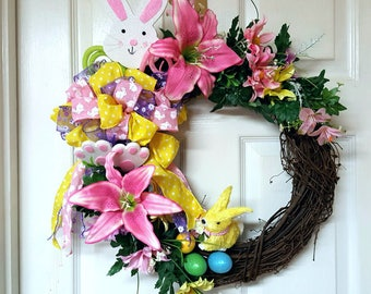 Easter Grapevine Wreath, Bunny Wreath, Bunny Door Decor, Easter Decor