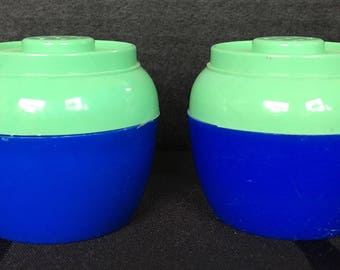Green and Blue Plastic Salt and Pepper Shakers circa 1950s/1960s