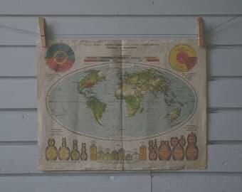 1917 Vintage World Map