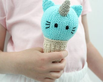Unikitty PDF Knitting Pattern - Ice cream Cone, Baby Rattle, Uni-kitty, cat, kawaii, unicorn, childrens toy,